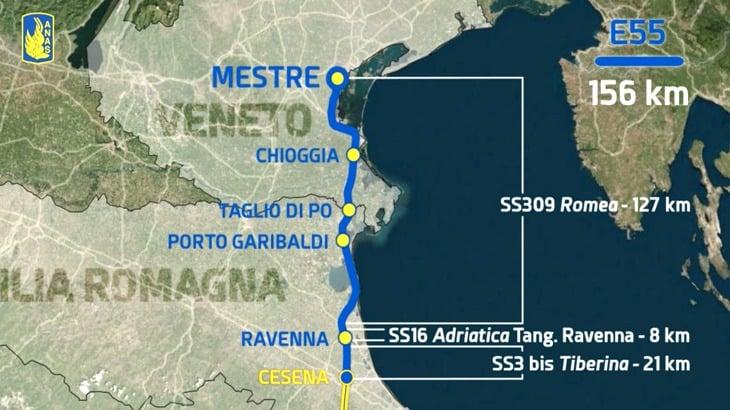 Il tratto Mestre-Cesena della E55