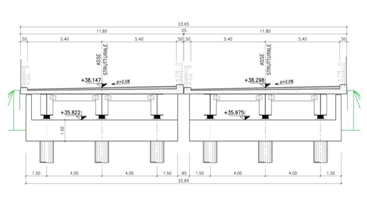 La sezione trasversale del nuovo impalcato: la A-A in scala 1:100