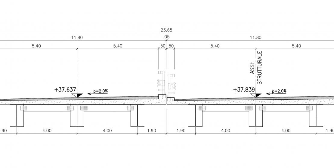 La sezione trasversale del nuovo impalcato: la B-B in scala 1:100