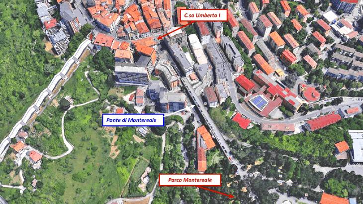 Veduta aerea della collocazione urbana in cui è inserito il ponte