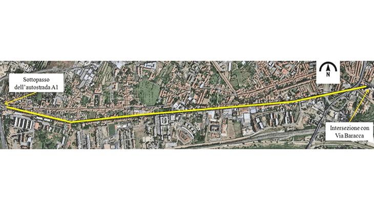 Vista generale del tracciato di Via Pistoiese