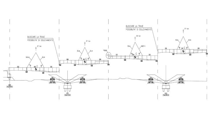 Le fasi di montaggio dalla pila SP1 alla P2