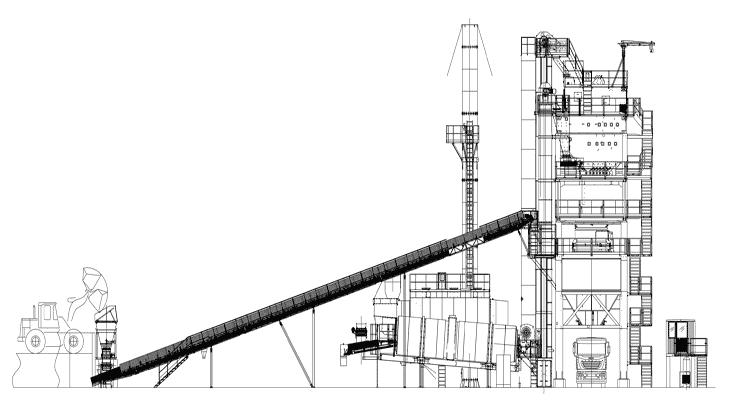 La planimetria e la vista laterale dell'impianto