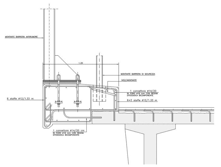 Un cordolo in c.a. con barriera di sicurezza e barriera antirumore