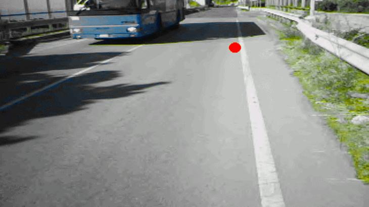 Quando un veicolo, anche ingombrante, è sulla corsia opposta il ciclista continua a guardare la linea di margine