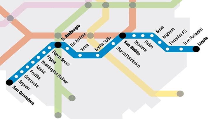 Il percorso della linea blu