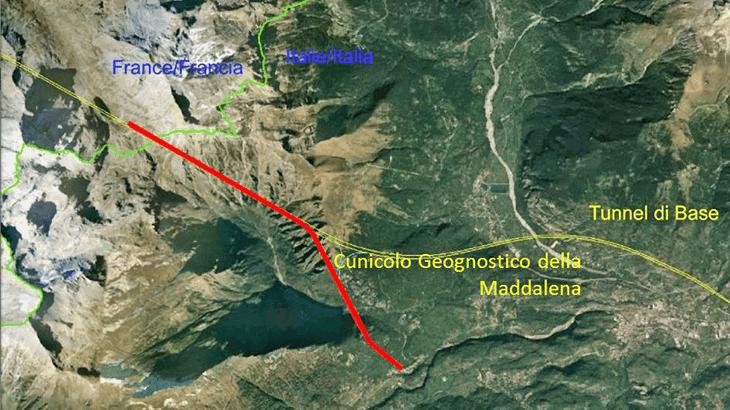 Il cunicolo geognostico di Chiomonte (tracciato in rosso)