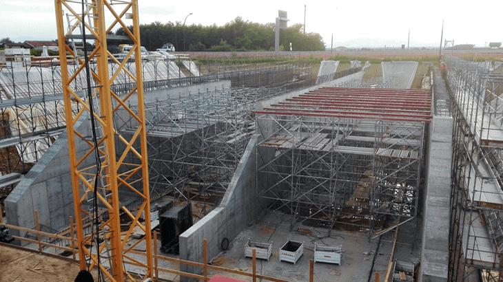 La realizzazione della soletta di copertura per l'esecuzione del monolite nella fase 0
