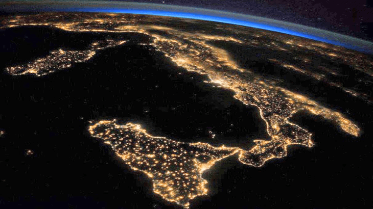 Vista delle infrastrutture di trasporto in Italia