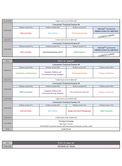Il programma di WCPAM2017