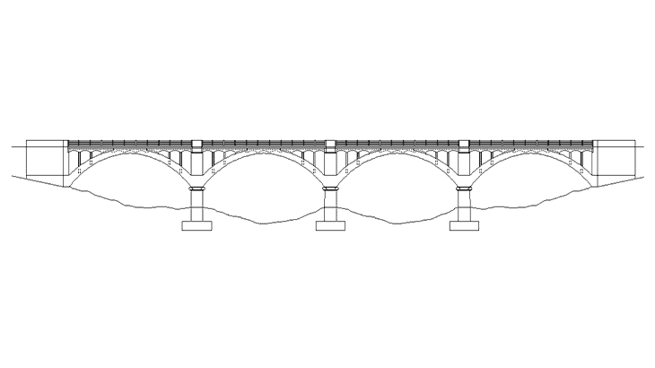 Lo schema strutturale del ponte sul fiume Gornalunga