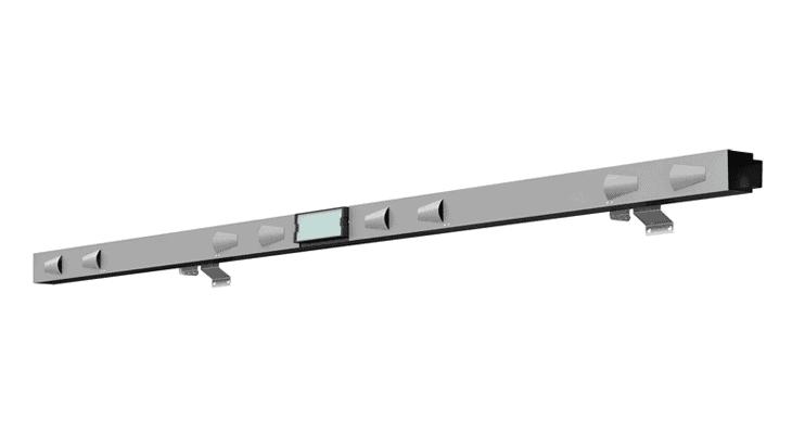 Il modulo di illuminazione chiuso con un particolare del sistema di raffreddamento naturale indotto: il modulo
