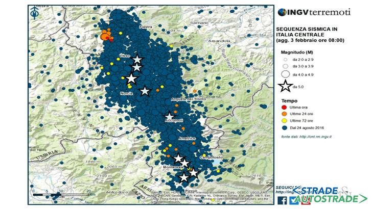 La localizzazione geografica dell'area e la sequenza sismica dell'Italia centrale aggiornata al 3 Febbraio 2017 (Fonte: INGV)