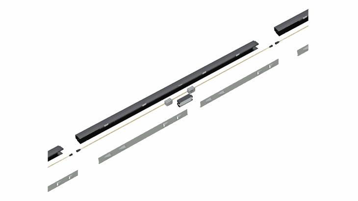 Il modulo di illuminazione aperto con un particolare del sistema di raffreddamento naturale indotto: il modulo