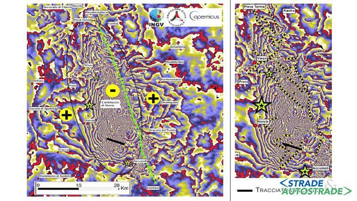 """L'interferogramma discendente da Sentinel 1 (ogni frangia = 2,8 cm) che mostra la deformazione del suolo legata agli eventi sia del 26 Ottobre che del 30 Ottobre (le stelle verdi sono gli epicentri delle scosse più forti). I simboli gialli mostrano il verso dello spostamento del suolo (lungo la LOS). L'ellisse nera mostra l'area di deformazione complessa, in abbassamento (pubblicazione online di INGV: """"Rapporto di sintesi sul terremoto in Centro Italia Mw 6.5 del 30 Ottobre 2016"""")"""