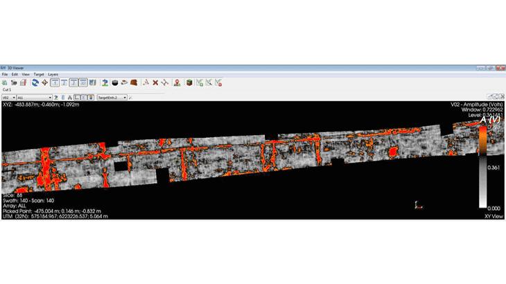 Un esempio di tomografia radar ottenuta da GRED HD 3D CAD in cui sono rappresentati in rosso le tubazioni rilevate