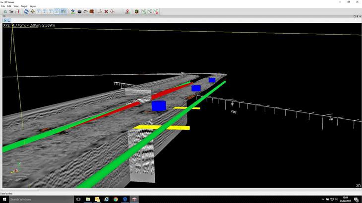 Un esempio di data set in 3D di Stream C in cui sono rappresentati gli oggetti (sottoservizi) rilevati
