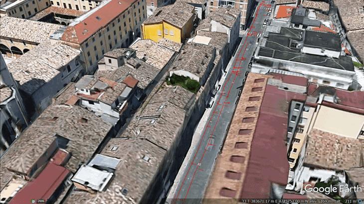Un esempio di rappresentazione dei sottoservizi rilevati e trasferiti come file .kml su Google Earth
