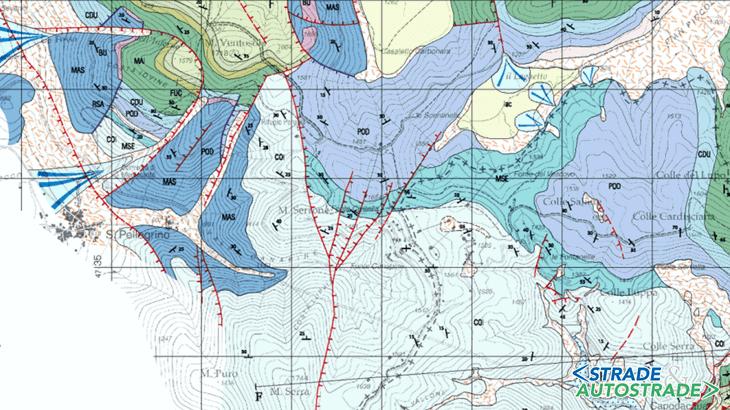 """Uno stralcio tratto da """"Geological map of the Sibillini Mountains"""" (P.P. Pierantoni et al., 2002)"""