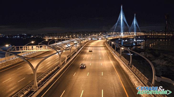 L'apertura al traffico: vista del Petrovsky Bridge