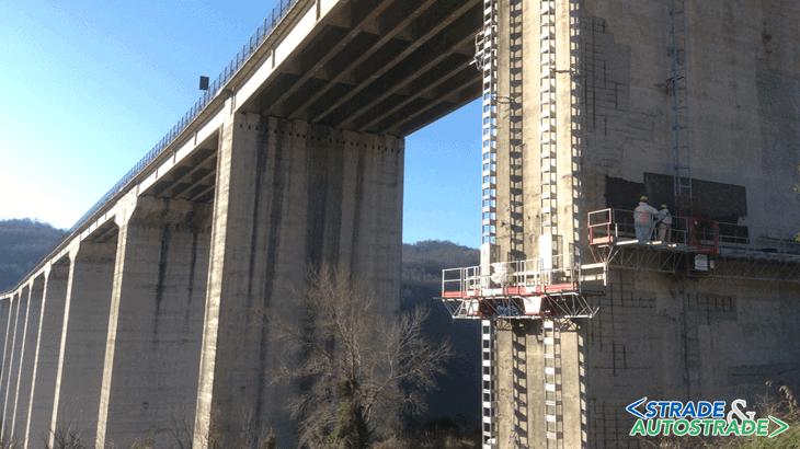L'intervento di ripristino del calcestruzzo sul viadotto Jannello