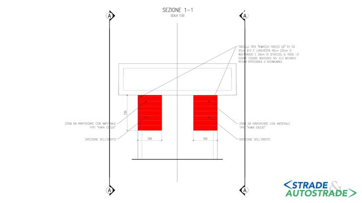 Lo schema del rinforzo con fasce in carbonio (vista laterale)