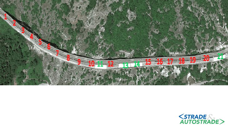 Vista area della campate esistenti (in verde) e da realizzarsi (in rosso)
