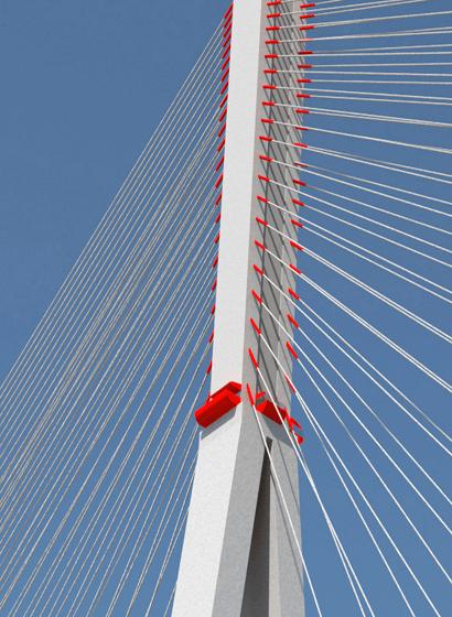 L'ancoraggio dei cavi sulla torre