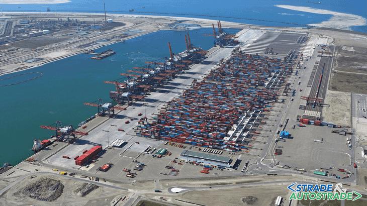 Vista del porto di Rotterdam