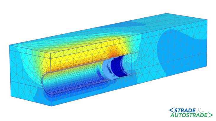 Il modello 3D degli spostamenti verticali (galleria eseguita con TBM scudata)