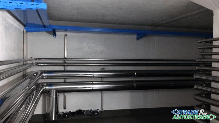 La fila delle tubazioni per il trasporto dei liquidi ad angolo di 90°