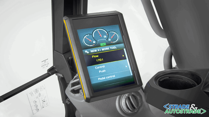 È possibile preimpostare i valori e regolare portata e pressione idraulica alla cabina consentendo, così, l'uso delle varie attrezzature per una maggiore versatilità