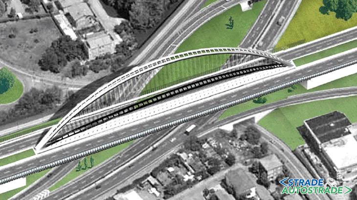 Il ponte ad arco del progetto a base di gara