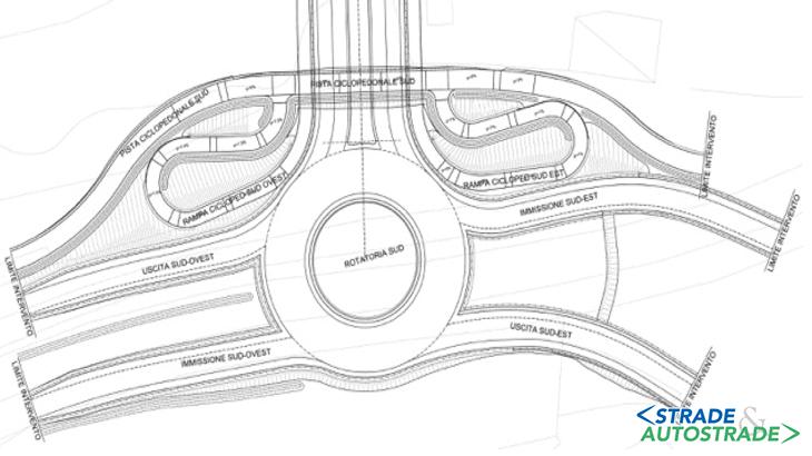 La planimetria della rotatoria Sud